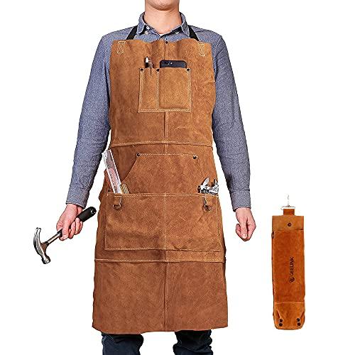 QeeLink - Delantal de cuero para carpintería con 5 bolsillos para herramientas, resistente al calor, resistente al fuego, para taller, ajustable de M a XXL