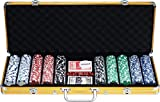 Powerpak 500 Pcs Casino Style Poker Chips Set (with Denomination) in Aluminium Case-Golden YYPS704