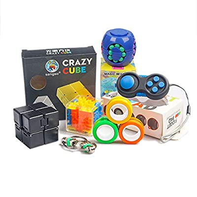 Fidget Toy Set for Kids and Adults, 6 PCS. Sensory Tool Fidgeting Game for ADHD Autism, Cool Mini Gadget for Stress and Anxiety Relief and Kill Time, Unique Idea that is Light on the Fingers and Hands by LittleBee