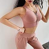 Sujetador Deportivo Mujer Nylon Sin Costuras Mujeres Fitness Chaleco-Tipo Cruz Correa Halter Cremallera Ideal para Deportes O Uso Diario-Pink_L