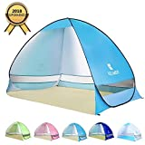 BATTOP Pop Up Beach Tent Sun Shelter Anti UV Beach Shelter for Outdoor Sets Up in Seconds 2-3 Person (LightblueL)