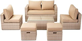 Aplos Outdoor Patio Furniture Sets, 7-Piece Sectional Conversation Sets,Patio Wicker Sofa Set with Water-Proof Cushions