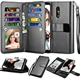 Njjex Compatible with LG Stylo 5 Case/LG Stylo 5X/Stylo 5V/Stylo 5 Plus Wallet Case, [9 Card Slots] PU Leather Card Holder Folio Flip [Detachable][Kickstand] Magnetic Phone Cover & Lanyard [Black]