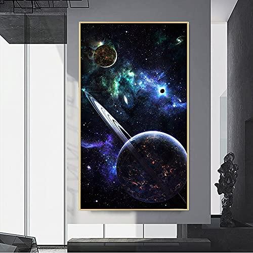 Carteles e impresiones abstractos modernos hermosos del espacio cósmico pinturas en lienzo cuadros artísticos de pared para la decoración de la sala de estar 30x55 CM (sin marco)