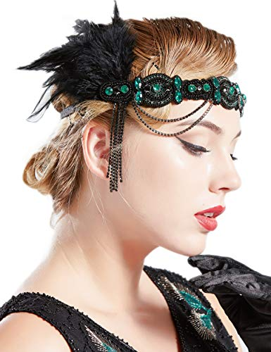 BABEYOND 1920s Flapper Headband Roaring 20s Gatsby Headpiece Black Feather Headband 1920s Flapper Hair Accessories (Dark Green)