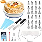 39 pcs Cake Decorating Supplies, WisFox Professional Cupcake Decorating Kit Baking Supplies Rotating Turntable Stand, Frosting, Piping Bags and Tips Set, Icing Spatula and Smoother, Pastry Tool