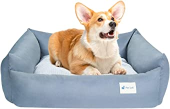 Pet Soft Dog Bed Medium – Rectangle Grey Dog Bed for Medium Dogs, Breathable Dog Cotton Beds with Removable Washable Cover...