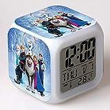 SXWY La Reine des Neiges Réveil numérique, lumières colorées réveil de l'humeur Horloge carrée Disponible Chargement USB...