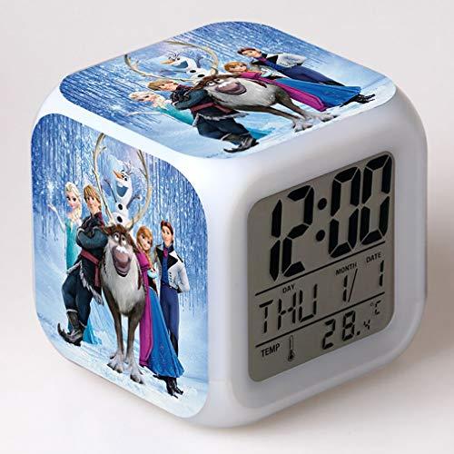 SXWY La Reine des Neiges Réveil numérique, lumières colorées réveil de l'humeur Horloge carrée Disponible Chargement USB adapté aux Cadeaux spéciaux pour Enfants garçons et Filles (05)