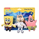 Nickelodeon Spongebob Squarepants for Pets Spongebob, Patrick, and Sandy Figure Plush Dog Toy | 6 Inch Small Dog Toys for Spongebob Fans | Squeaky Dog Toys for All Dogs (FF16161)