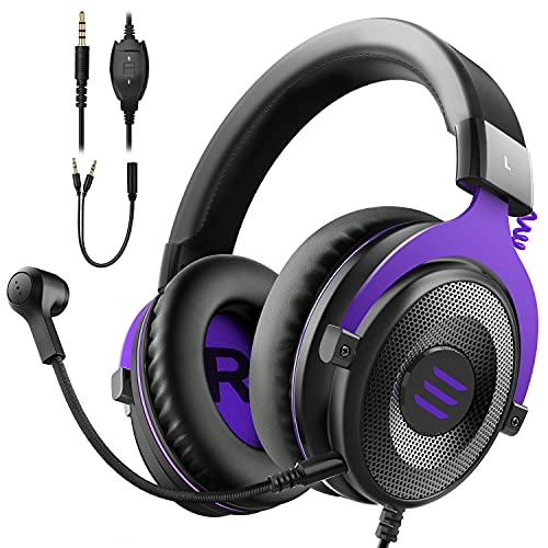 EKSA E900 Gaming Headset with Microphone - PC Headphone with Detachable Noise Canceling Mic - Stereo Sound Comfortable Wired Headphones - Gaming Headphones for PS4/PS5, Xbox One, Computer, School