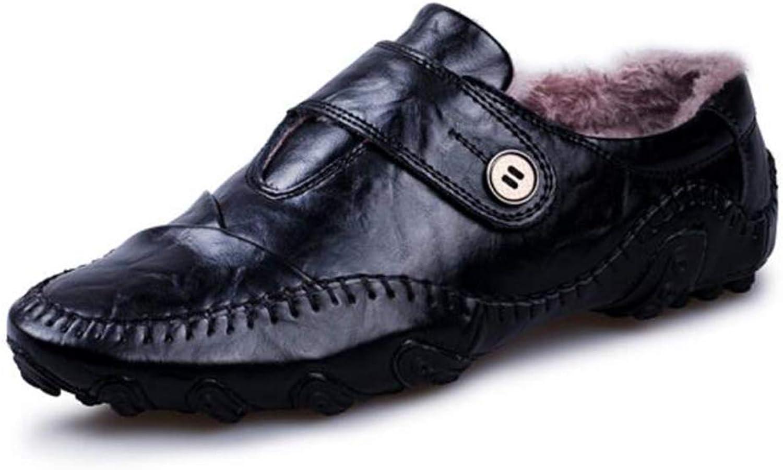 LCM Men's shoes Big code men's shoes Autumn winter breathable bean shoes male lazy shoes two colors wear-resistant round head flat heel shoes with velvet shoes warm shoes,Black,7.5UK