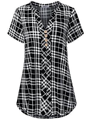 MOQIVGI Womens Notch Neck Short Sleeve Plaid Shirts Checkered Blouse Tops