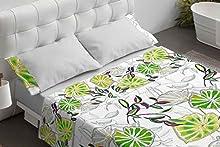 Burrito Blanco Juego de Sábanas 110 Algodón con Diseño De Hojas para Cama Individual de 90x190 hasta 90x200 cm/Juego de Cama 90, Color Verde