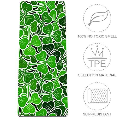 Tizorax Reen Piktogramm-Pflanzen. VectorExtra dicke rutschfeste Gymnastikmatte für alle Arten von Yoga, Pilates und Bodentraining (80 x 183 x 0,8 cm)