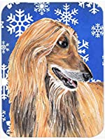 Caroline's Treasures SC9499MP Afghan Hound Winter Snowflakes Holiday Mouse Pad, Hot Pad or Trivet, Large, Multicolor [並行輸入品]