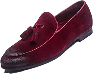 XinQuan Wang Tasseled Oxford for Men Smoking Loafers Slip on Suede Pointed Toe Low Block Heel Anti-Slip Wear-Resisting Burnished Style Rubber Sole (Color : Red, Size : 9 UK)