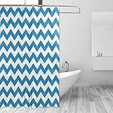 FAJRO Duschvorhang mit blauem Zickzack-Muster, Polyester, maschinenwaschbar, Badezimmer-Duschvorhänge, antibakteriell für Duschstall, Badewannen, 168 x 183 cm