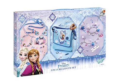 Totum Frozen Set de Manualidades 3 en 1 - Set Grande para Manualidades de Collares, Bolso Bandolera y Cuatro Pulseras con Colgante de Frozen, Regalo para niñas