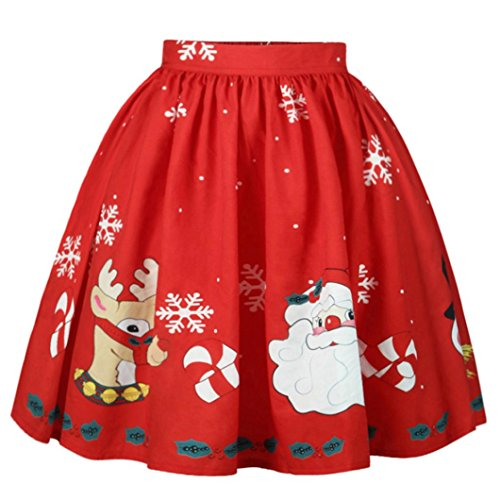 KOLY Da Donna Natalizia Gonna A Righe Stampata Santa Snowflake Dress Vintage Stampato Cocktail Party Matrimonio Abiti Babbo Natale Cervo Stampa Vestito Manica Partito A-Line Abiti (Christmas Red, M)