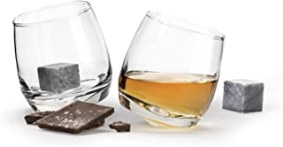 Sagaform Ready-to-Give Gift Club Collection Rocking Tumbler Glasses with Drink Stones, Set of 2