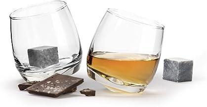 """Set Whisky Wackelglas /""""Meer bitte/"""" 8,5 x 7,5 cm  in Zylinder-Geschenkbox 2 tlg"""