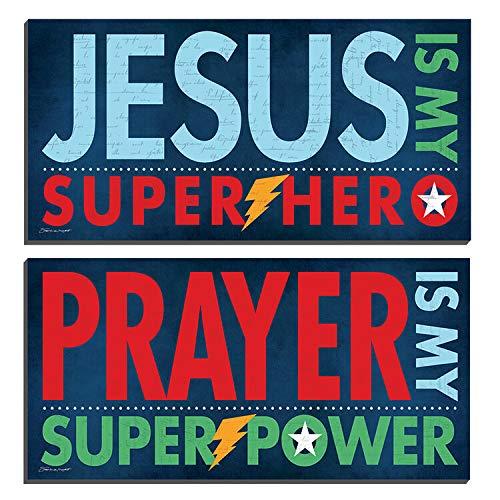 Superhero Prayer, Two 18x8 Mounted Art by Stephanie Marrott