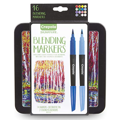 Crayola Blending Marker Kit with Decorative Case, 14 Vibrant Colors & 2 Colorless Blending Markers, Model:58-6502