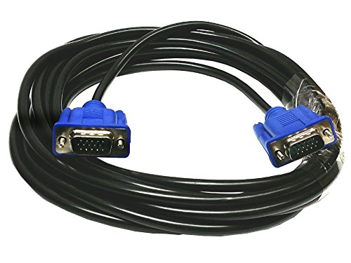 Importer520 Blue Connectors HD15 Male to Male SVGA VGA Long Video Monitor Cable for TV Computer Projector (15 Feet)