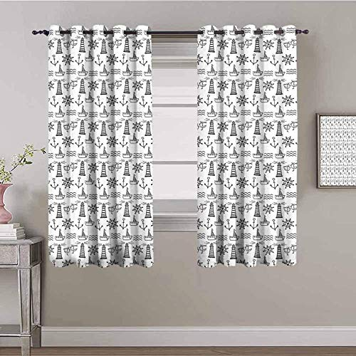 LucaSng Blackout Curtain Thermal Insulated - Abstract sailboat rudder anchor - 55x63 inch - for Bedroom Kitchen Living Room Boy Girl Window - 3D Digital Printing Eyelet Ring Curtain