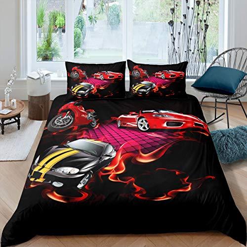 Juego de ropa de cama para niños y adultos, diseño de motocross