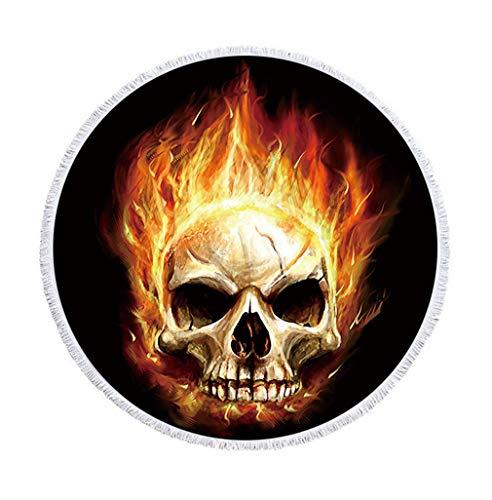 Sticker Superb Grande Cráneo del Azúcar Toalla de Playa Redonda con Borla 59 Pulgadas Marco del Cráneo Estera de Yoga Manta de Playa Mujer Niña (Dorado, 150 cm)