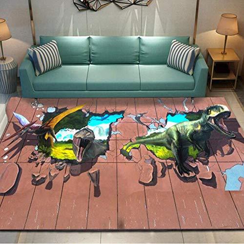 DRTWE Alfombra,Alfombra Moderna De Dinosaurio para Correr En 3D, Alfombra Peluda para Sala De Estar, Dormitorio, Alfombra Grande Y Esponjosa para Niños, Alfombra para Decoración del Hogar, 160 *