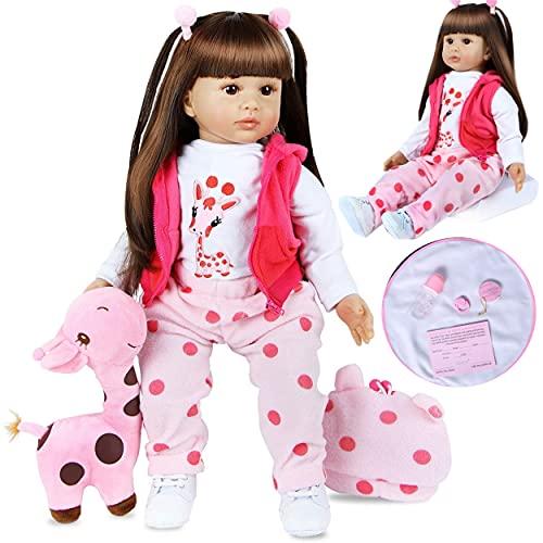 ZIYIUI Muñecas Reborn Bebé Niña 24 Pulgadas 60 cm Silicona Blanda Vinilo Hecho a Mano para Recién Nacidos Bebe Reborn Dolls Muñeca niña de Pelo Largo Regalo de Cumpleaños Juguetes