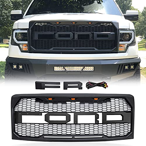 ALL4ROLL Raptor Style Grille Mesh Grill, Compatible with Ford F150/F-150 2009 2010 2011 2012 2013 2014, Matte Black