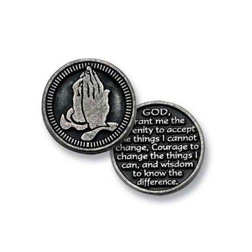 Zwölf (12) Pewter Pocket Spielsteine Serenity Gebet–God Grant Me The Serenity to Accept.–2,5cm Metall Medaille–inspirierendes Geschenk–Andenken–Anonyme Alkoholiker–AA