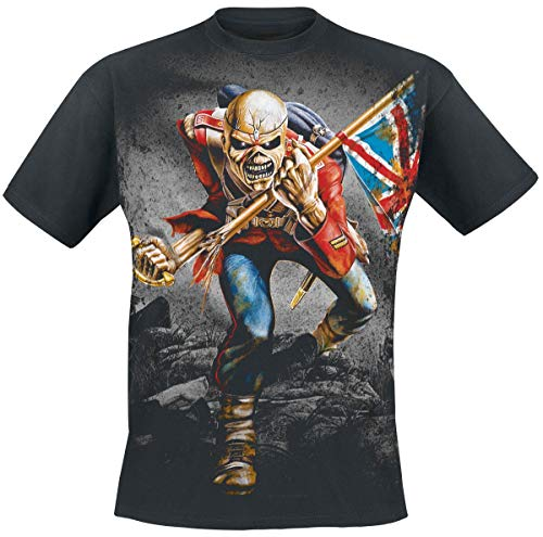 Iron Maiden TheTrooper Hombre Camiseta Negro M, 100% algodón, Regular