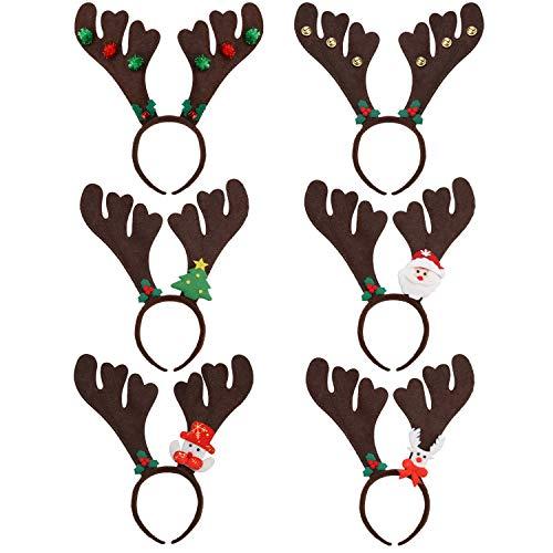 ZOYLINK 6PCS Diademas de astas de Reno Diademas Campanas, Árbol de Navidad, Papá Noel, Muñeco de Nieve, Alces de Reno Decoradas Diademas Diademas Fiesta de Pascua Diadema Accesorios para el Cabello