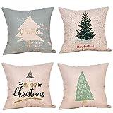 Fossrn 4PC/Conjunto Navidad Fundas Cojines 45x45,Patrón de Merry Christmas Funda de...