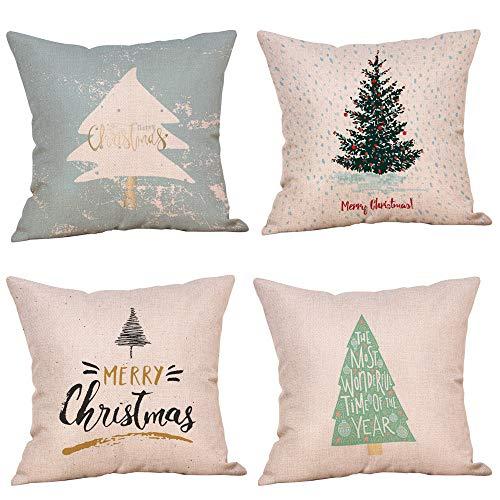 Fossrn 4PC/Conjunto Navidad Fundas Cojines 45x45,Patrón de Merry Christmas Funda de Almohada Decorativo Hogar Sofá Jardin Cama (03)