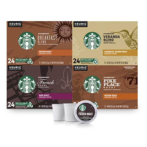 Starbucks Black Coffee K-Cup Coffee Pods — Variety Pack for Keurig Brewers — 4 boxes (96 pods total)