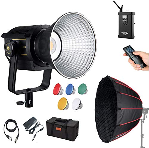 Godox VL150 LED Video Light, with LAOFAS 35inch 90cm Deep Parabolic Softbox, 150W 5600K Bowens Mount Continuous Video Light, CRI 96 TLCI 95, 61000Lux@1m,16 Channels, with V-Mount Plate Controller Box