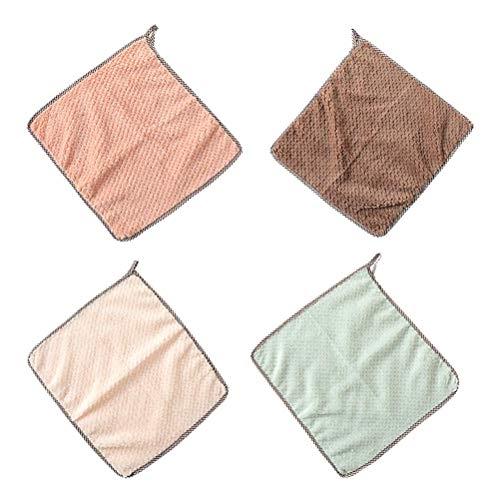 Hosuho 4 paños absorbentes, 25 x 25 cm de poliéster para colgar toallas de limpieza, paños suaves de lana coral para bebés, niños y adultos