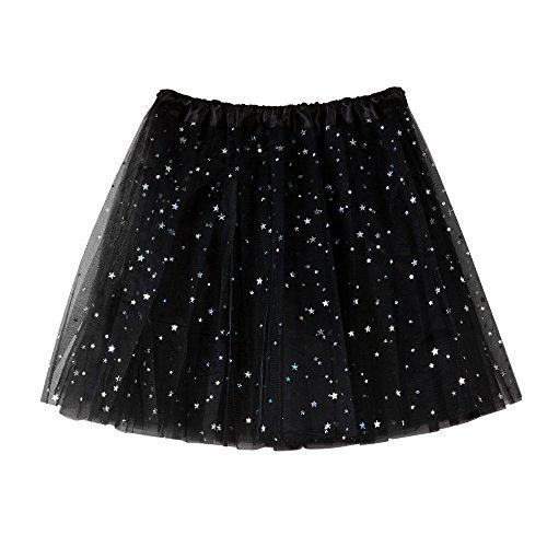 IZHH Damen Tüllrock Paillette elastischer 3-lagiger kurzer Rock Tutu Tanzrock für Erwachsene 50er Kurz Ballet Tanzkleid(schwarz,Freie größe)