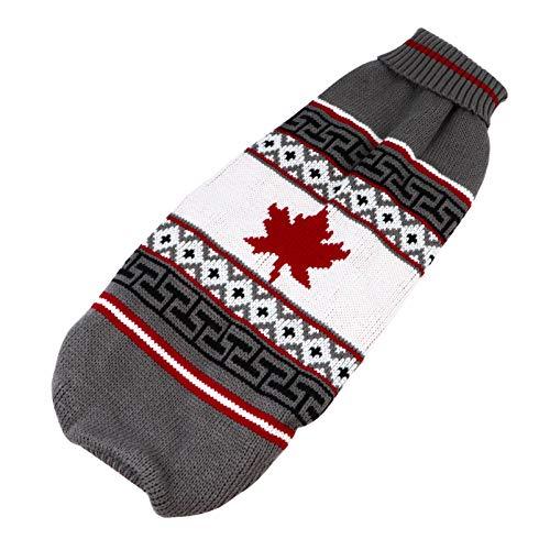 Hemobllo Jersey de punto para perros, Navidad, para mascotas, gato, invierno, ropa cálida, diseño clásico de hoja de arce (talla XL)