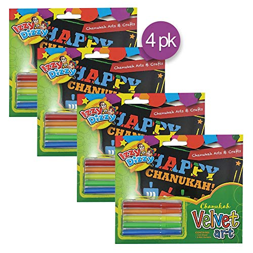 Izzy 'n' Dizzy Chanukah Velvet Art Kit - Includes 5 Markers, 1 Velvet Poster - 7' x 6'- Hanukkah Arts and Crafts - Gifts and Games- 4 Pack
