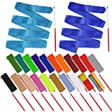 obmwang 22PCS Dance Silk Ribbon Wands 6.6ft Ribbon Streamers Gymnastics Rhythmic Artistic Twirling Ribbons Rods for Kids Adults Dance Performance and Games