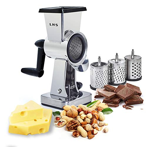 Rotary Cheese Grater Stainless Steel Body Chocolate Drum Slicer Shredder Cutter Nut Grinder with 3 Interchangeable Sharp Drums Slicer 75 Inch High