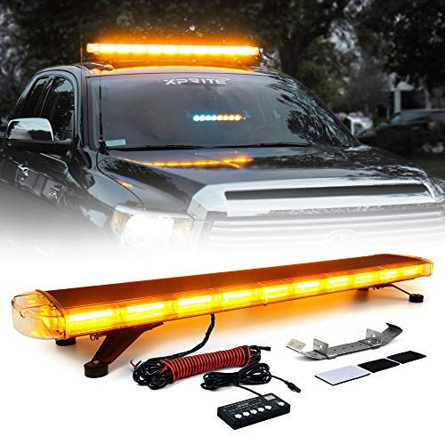 Xprite 47 Inch COB LED Amber Rooftop Emergency Strobe Lights Bar w/Adjustable Mounting Brackets Hazard Warning Flashing Lightbar for Construction Vehicles, Snowplow, Tow, Trucks, Crane, Traffic Cars