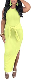 Sleeveless Bodycon Knit Maxi Party Dress for Women Round Neck Length Side Split Wrap Dresses with Belt Casual
